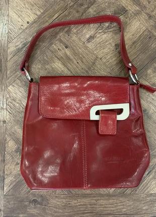 Красная кожаная сумка vera pelle, италия, сумка, кожа