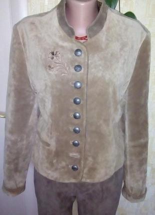 Отличная стильная куртка 100 % замша кожаная куртка/ куртка/жакет /пиджак/ куртка