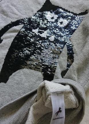 Классный свитшот с пайетками palomino, кофта с начесом р.1405 фото