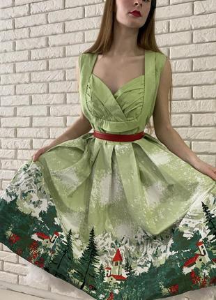 Винтажное платье lundy bop стиль 50х картина пейзаж принт