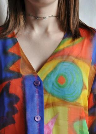 Рубашка винтажная футболка яркая с короткими рукавами веселый принт легкая шифон прозрачная4 фото