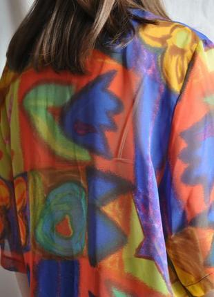 Рубашка винтажная футболка яркая с короткими рукавами веселый принт легкая шифон прозрачная2 фото