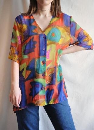 Рубашка винтажная футболка яркая с короткими рукавами веселый принт легкая шифон прозрачная3 фото
