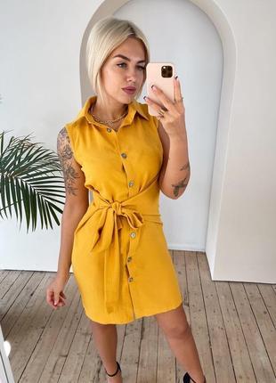 Платье лён, 4 цвета