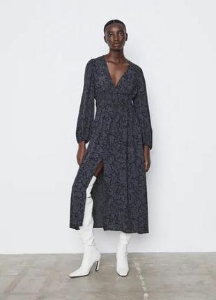 Шикарное платье из вискозы zara/ зара/ платье миди
