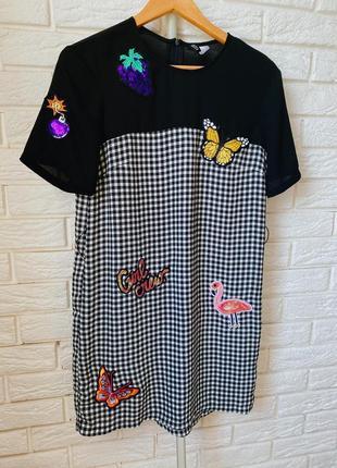 Платье в клетку с нашивками h&m платье в клеточку размер s размер xs