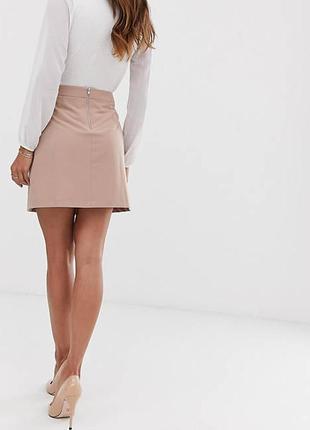 Мини юбка а-силуэта с видимой молнией трапециевидная короткая юбка