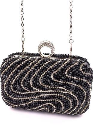 Кресивый изысканный вечерний клатч черный сумочка на цепочке жемчуг бисер камни