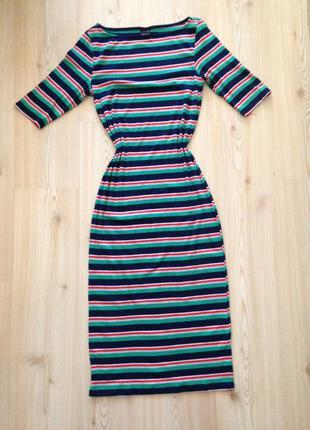Триотажное платье в обтяг, полоска