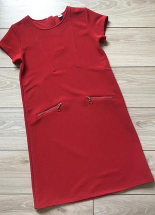 Красное платье в рубчик на девочку 12-14 лет