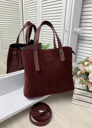 Бордовая женская стильная сумка замшевая три отделения средний размер