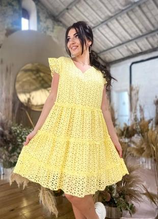 Платье трапеция из прошвы 42-56 р-р