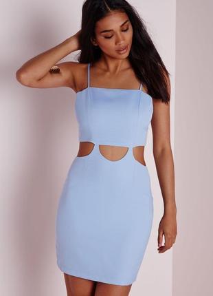 Летнее голубое шикарное стильное актуальное платье сарафан missguided