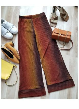 Стильные брюки палаццо zara высокая посадка трикотажные кюлоты zara штаны лапша
