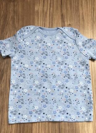 Голубая футболка со звёздами для мальчика 12-18 месяцев