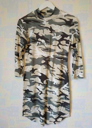 Платье туника милитари хаки принт трикотаж