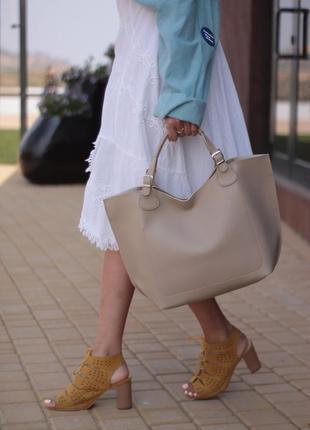 Стильная и удобная кожаная сумка шопер💋
