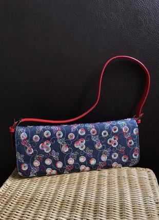 Винтажная джинсовая сумка сумочка багет клатч