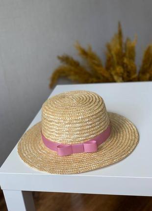 Канотье классическое, соломенная шляпа, шляпка из соломы, капелюх