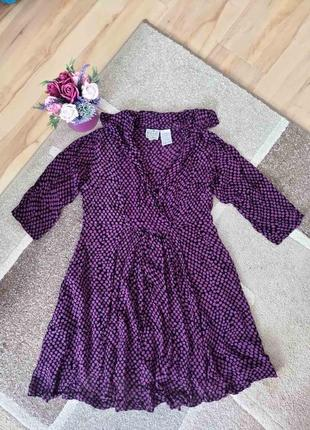 Платье пляжное,туника пляжная фиолетовое в горошек