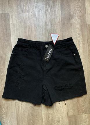 Джинсовые чёрные шорты boohoo