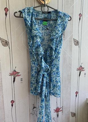 Блуза с поясом цветочный принт