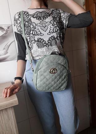 Стильная сумка через плечо кросс боди трасформер рюкзак мятный новый sara fashion bag