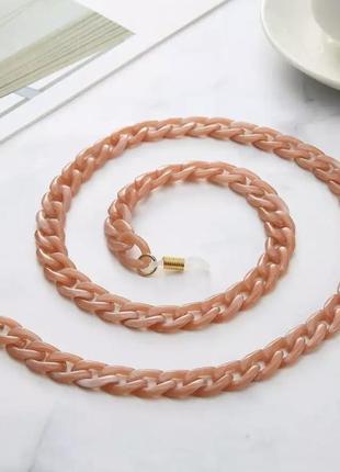 Цепочка шнурок для очков  персиково-розовый цвет