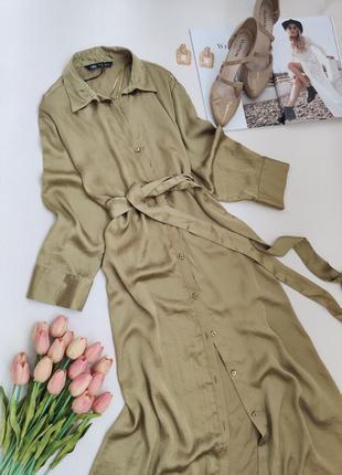Шелковое платье-рубашка zara