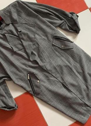 Шикарный очень крутое пальто кардиган жакет new look в клетку /оверсайз