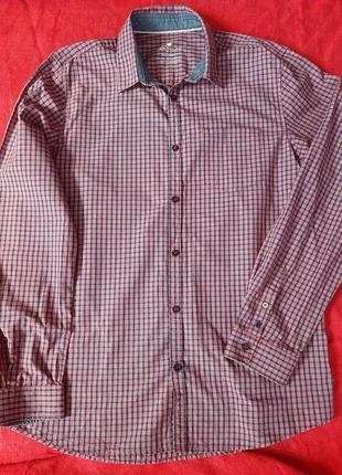 Брендовая мужская рубашка сорочка в клетку tom tailor