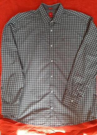 Брендовая мужская рубашка сорочка в клетку s. oliver