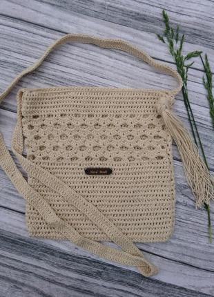 Готовое изделие вязаная сумочка из хлопка - маленькая сумка через плечо