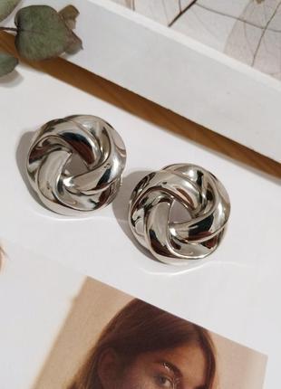 Серебристые серьги пусеты узелки сережки ретро кульчики під стібло вузлики тренд