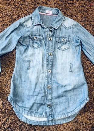 Джинсовая рубашка f&f 5-6 лет
