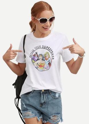 Летняя легкая футболка с принтом h&m  marvel/reveal your superpower