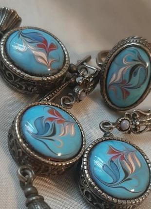 Серебро - кольцо, серьги и кулон