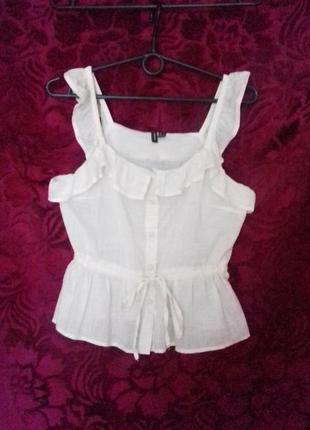 Хлопковая лёгкая  блузка с рюшами /майка / блуза