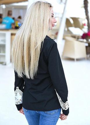 Лён чёрная рубашка кружевная с кружевом лето3 фото