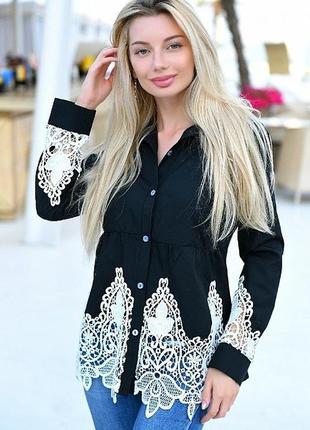 Лён чёрная рубашка кружевная с кружевом лето2 фото