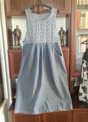 Длинный джинсовый сарафан с вышивкой erika&co шри ланка батал