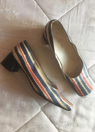 Летние туфли лодочки цветные натуральная кожа