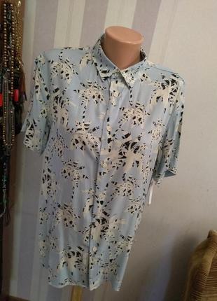 Нежная голубая  блуза блузка рубаха