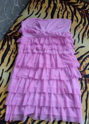 Розовое платье бандо