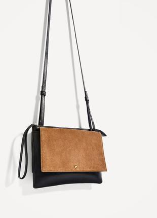 Zara натуральная кожа и замша,шикарная сумочка кроссбоди с птичкой
