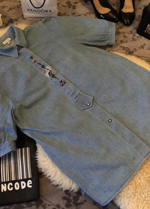 Джинсовая котоновая стильная рубашка блуза с вышивкой вышиванка р.м/л...❤️🌹💋