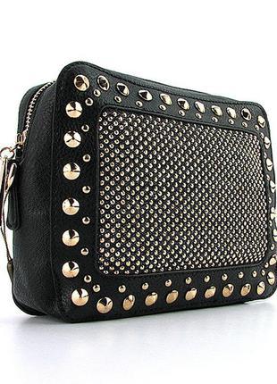 Черная маленькая сумочка через плечо кроссбоди со стразами и шипами