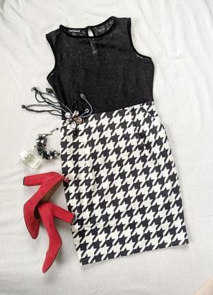 Чорно-біле плаття, гіпюр, гучяча лапка, чорно-белое платье, гипюр, гусиная лапка