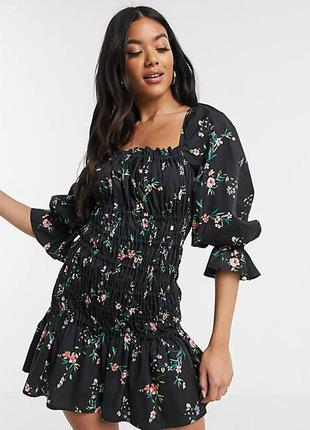 Роскошное натуральное платье asos, в цветы, коттон поплин!