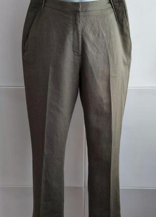 Стильные брюки  h&m со льном цвета хаки